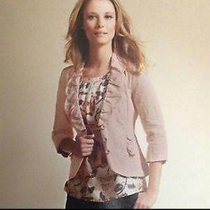 CAbi Blush Ruffle Work Career Suit Jacket Blazer